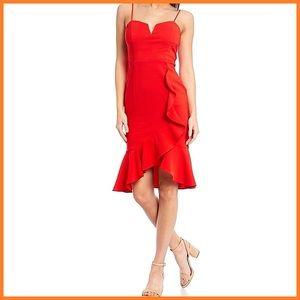🏷 🆕 Shelli Segal Red Cocktail Ruffle Dress